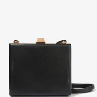FOREVER 21 Structured Faux Leather Clutch Black One
