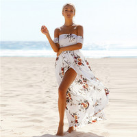 Boho style long dress women Off shoulder  Vintage chifon beach summer dress maxi dress vestidos de festa -03D24