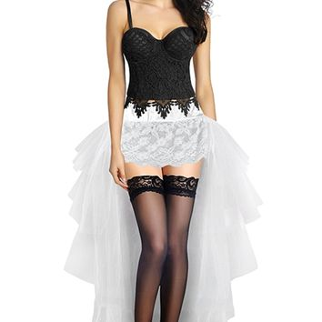 Atomic Black Lace Floral Crop Top Bustier & White Tulle Skirt Set