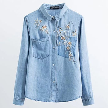 Women Embroidered Denim Blouse Long Sleeve Turn-down Collar Jeans Shirt Tops New Fashion Spring Autumn Clothes Blusas Camisa