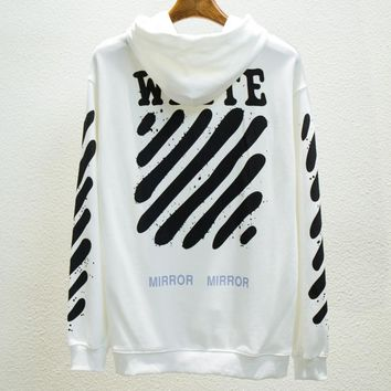 OFF-WHITE Tide brand men and women's head round neck splash ink graffiti twill hooded sweater White
