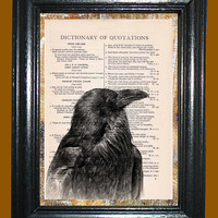 Black Raven -- Vintage Dictionary Book Page Art - Upcycled Page Art - Collage Wall Art - Mixed Media Art