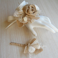 Burlap & Lace Wedding Wrist Corsage and/or Boutonniere, for Rustic, Country, Bohemian, Woodland, Style Weddings. Made to Order.