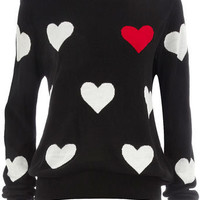 Black big heart jumper - View All New In  - Dorothy Perkins