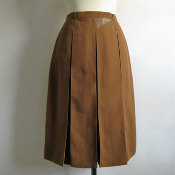 Vintage 1980s Pleat Skirt Saddle Brown Pleat Skirt w-Faux Leather 80s Midi Day Skirt Medium