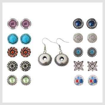 Snap Charm Set Includes 10 Pairs Mini Snaps 12mm and Mini Snap Earrings