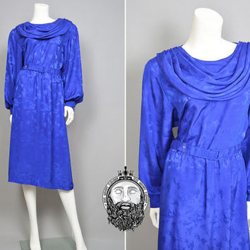 Vintage 80s Royal Blue Cowl Neck Floral Satin Midi Tea Dress Dynasty Dress Bishop Sleeves Dark Blue 1980s Clothing Draped Front Grecian Gown