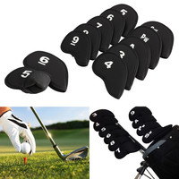 Hot Sale 10Pcs Golf Club Iron Putter Head Cover HeadCovers Protect Set Neoprene Black Outdoor Golf Accessories