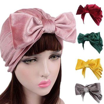 ONETOW Brand New Women Bow Cancer Chemo Hat Beanie Turban Head Knit Beanie Cap Braided Hat skull hats for women