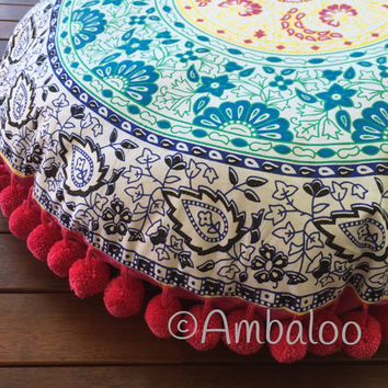 bohemain Floor Cushion Cover, floor cushion, cushion, pillow, boho, mandala talestry, tapestry, room decor, garden