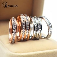 Bamos Female Geometric Ring 925 Sterling Silver Filled & Rose Gold Ring Promise Wedding Engagement Rings For Women Best Gifts