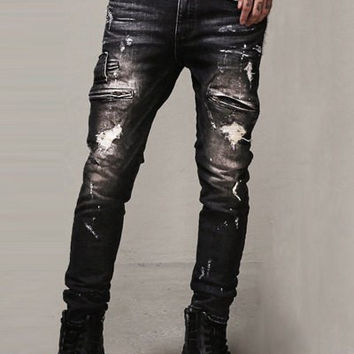 Zipper Embellished Scratched Ripped Jeans