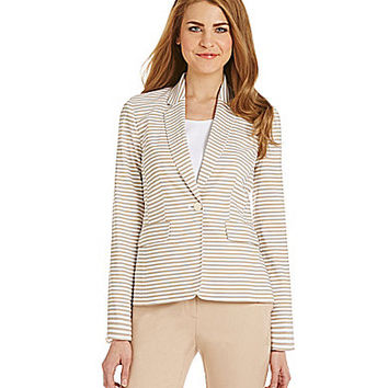 Calvin Klein Crepe de Chine Striped Jacket - Khaki/White