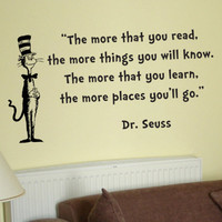 Dr Seuss Cat in the Hat The more that you read wall quote phrase word saying vinyl decal 14x26