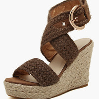 Buckle Linen Craft Roman Wedge Sandals