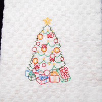 Kitchen Towel, Christmas Tree Towel, Holiday Kitchen, Embroidered Towel, Christmas Tree, Off White Towel, 16 X 28 Inches, Personalize Towel