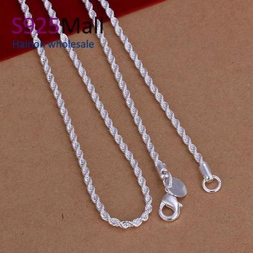 2017 Collier fine Jewelry Silver Color chain necklace Silver ColorPlated 2mm  in bulk   jewellery twisted chain necklace