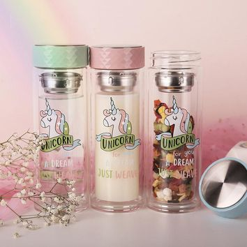 Cartoon Unicorn Double Wall Glass Water Bottle Coffee Tea Cup Leakproof Sport Travel Transparent Drinking Infuser Tumbler