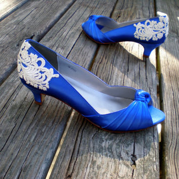 "Blue Wedding shoes- Low heel 1.75"" heel - Armoire Low heel"