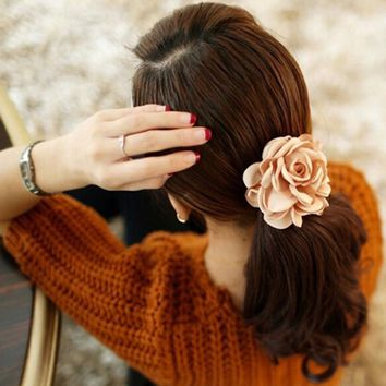 1Pc 2016 New Fashion Elgant Women Hair Band Rope Elastic Rose Flower Ponytail  Holder Scrunchie Party Accessories Hot