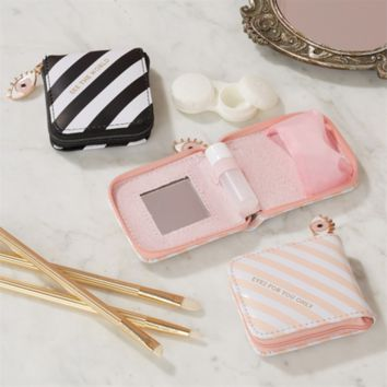Contact Lens Cases in Pink and Black Stripes