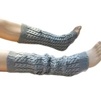 Women's Winter Knit Crochet Leg Warmers Legging 5 Colors (Light Grey)
