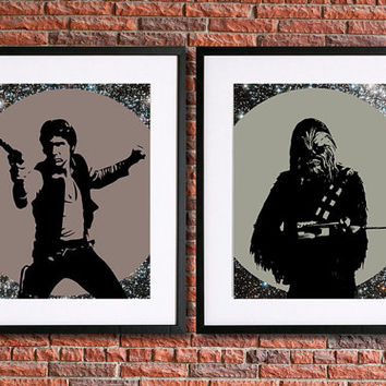 Han Solo Poster | Chewbacca Poster | Star Wars Poster | Set of Two 8x10 Instant Download Printable | Science Fiction | Sci Fi Character