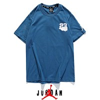 Jordan New fashion embroidery letter couple top t-shirt Blue