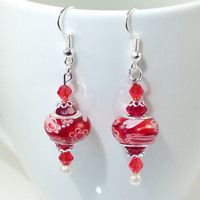 European Bead Silver Dangle Drop Earrings Handmade Red Millefiori Lampwork, Murano and crystal glass beads