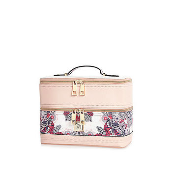Pink floral print vanity case - make up bags - bags / purses - women