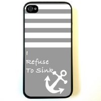 iPhone 4 Case Silicone Case Protective iPhone 4/4s Case Grey Solid Stripes White Anchor Refuse To Sink