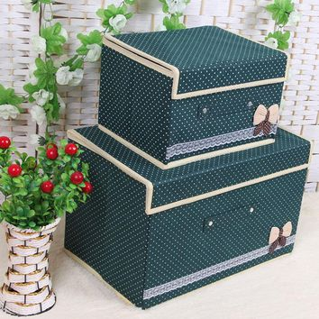 2Pcs Foldable Cosmetics Storage Box Square Clothing Quilt Storage Basket Plus Size
