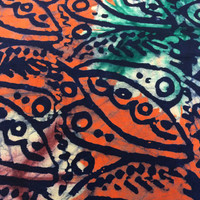 Made in Kenya--African Batik Print Fabric--Orange, Green, Brown, and Black Leaves--African Fabric by the HALF YARD