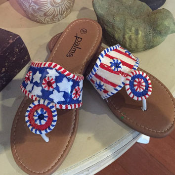 Jack Rogers inspired sandals painted in an american flag theme