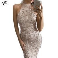 Inme Party Club Dress Summer Sexy Off Shoulder Dress Sequined Tassels Patchwork Maxi Long Dress Elegant Bodycon Dress Vestidos