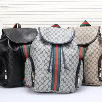 912721875 PEAP Gucci Men Casual Fashion Multicolor Stripe Classic Print Drawstring  Backpack Large Capacity Travel Double Shoulder