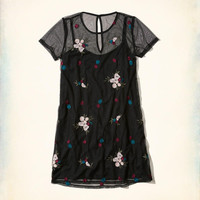 Girls Embroidered Mesh T-Shirt Dress | Girls New Arrivals | HollisterCo.com