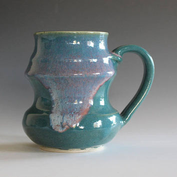 Unique coffee mug, 14 oz, handmade cup, handthrown mug, stoneware mug, wheel thrown pottery mug, ceramics and pottery