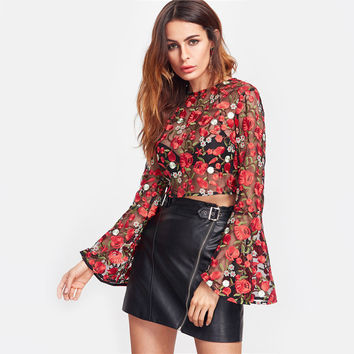 'Marci' Embroidered Mesh Zipper Back Blouse