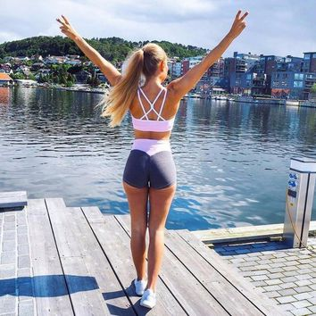 Sport Yoga Shorts Women Patchwork Elastic Quick Dry Athletic Shorts Female Breathable Gym Running Fitness Workout Clothes