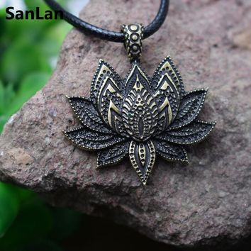 SanLan vintage charm Mandala Lotus Flower Pendant Necklace women Charm amulet Religious jewelry woman Gift  with a bag