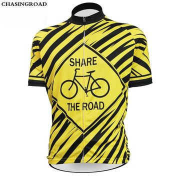 New Striped SHARE THE ROAD Sports Wear Mens Cycling Jersey Cycling Clothing Bike Shirt Size XS TO 5XL