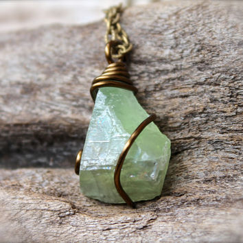 Green Calcite Necklace, Raw Stone Jewelry, Gypsy Necklace, Boho Jewelry, Rough Stone Necklace, Natural Calcite Jewelry, Boho Hippie Pendant