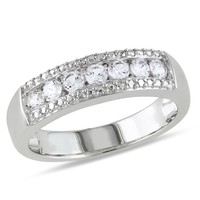 5/8 Carat Created White Sapphire Fashion Ring in Sterling Silver