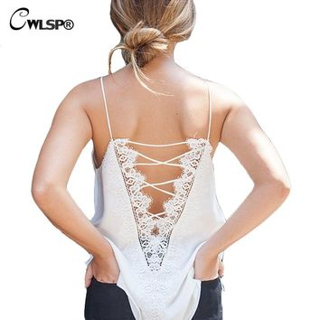CWLSP Satin Sexy Women Tank Top Front Back Deep V Cross Lace Up Tshirt Fashion Loose Shirt women tops summer 2017 QL3101