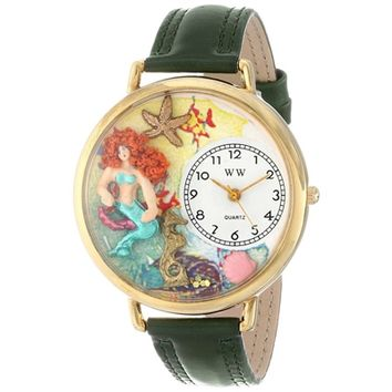 SheilaShrubs.com: Unisex Mermaid Hunter Green Leather Watch G-1210014 by Whimsical Watches: Watches