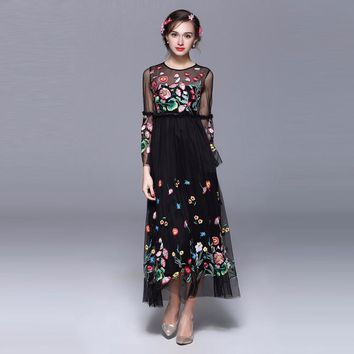 2018 New Spring Pretty Embroidery Long Mesh Dress European High Quality Full Flare Sleeve Perspective O_neck Slim Sweet Dress