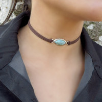 Choker Necklace, Suede Choker Necklace, Bohemian Turquoise Necklace, Native American Jewelry, Minimalist Choker, Leather Choker,Boho Jewelry