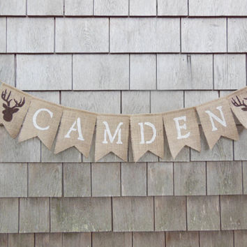 Custom Personalized Name Banner, Woodland Nursery Decor, Stag Deer Antlers, Burlap Garland Bunting, Baby Shower Decor, Camp Hunting Banner