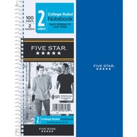 Mead® Five Star® Wirebound Notebook, 2-Subject, 9-1/2